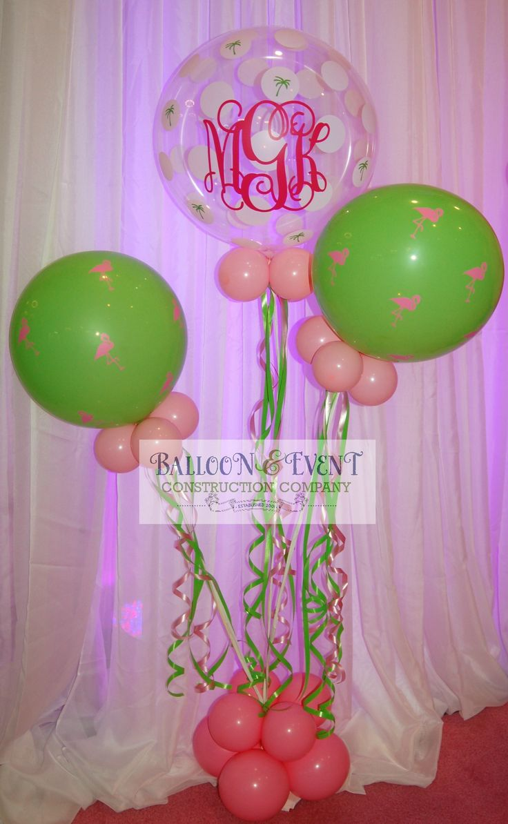 Monogrammed balloons with a Lilly Pulitzer flair