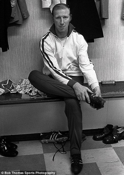 Leeds star Jack Charlton relaxes in the dressing room before his testimonial match against Celtic at Elland Road in 1973. Charlton was with the Yorkshire club for an incredible 21 years, helping Leeds to a host of successes, including the league title in 1969 and the FA Cup in 1972. He later made a name for himself in management, memorably leading the Republic of Ireland to the quarter-finals of the 1990 World Cup in Italy and the second round of the 1994 World Cup in America