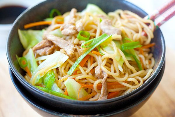 Yakisoba (Japanese Fried Noodles) - Try with extra meat and veggies to make it a little heartier.  Need pork and cabbage.