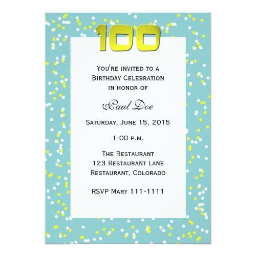21 best 100th birthday invitation templates images on pinterest, Birthday invitations