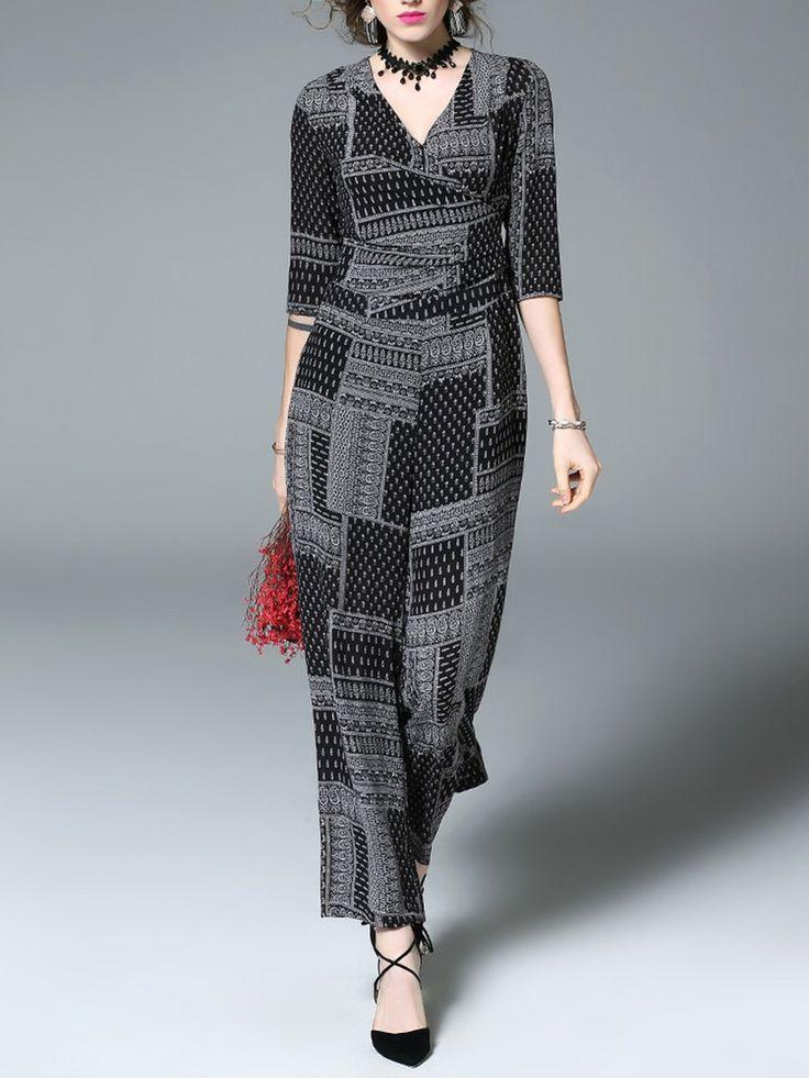 #AdoreWe #StyleWe Designer Jumpsuits - Designer Jade&Cloud Gray Geometric Simple V Neck Two Piece Silk Jumpsuit - AdoreWe.com