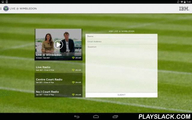 The Championships, Wimbledon  Android App - playslack.com , The Championships, Wimbledon run from 29th June to 12th July 2015, with qualifying starting from 22nd June. This app will cover the build-up, qualifying, the live tournament and then keep updating all year round with Wimbledon and tennis news and videos. Key features are:LIVE real-time scores, results and match statistics. LIVE video programme: Championships coverage plus regular live match action. LIVE radio: Daily coverage of The…