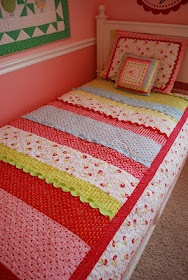 PB inpsired quilt for a girl--pattern now available on Etsy: Girls Patterns, Quilts Patterns, Girls Quilts, Quilts Inspiration,  Comforter,  Puff, Inpsir Quilts, Ricrac, Quilts Ideas