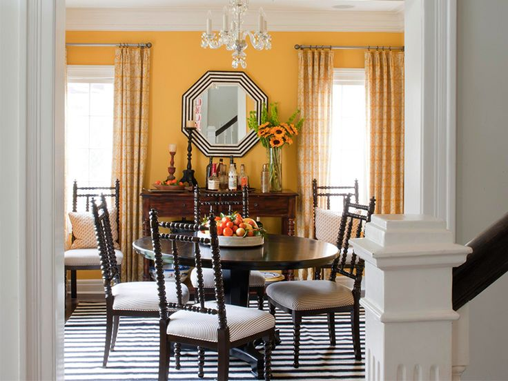 Dining Room Yellow Gold And Black White
