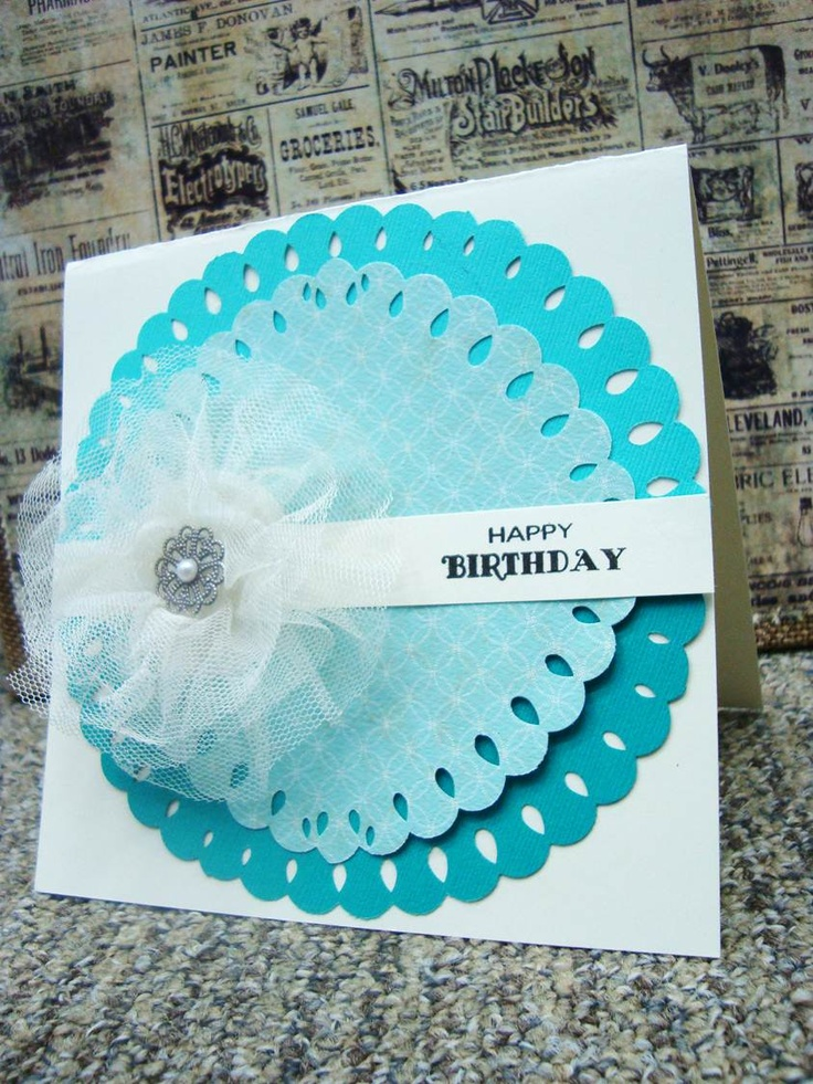 "Mini Lucky 8 punches are amazzzzzing!  Using 6 x 6 papers punch out a beautiful teal coloured circle, top this with a 5"" circle punched out, you will see the shape changes slightly depending on the size of paper you use, experiment. We used: 501767 Set of 2 Mini Lucky 8 Punches Scallop Design. - QVC Craft"