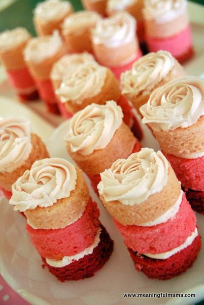 Pink Ombre Mini Cakes with Rosette Frosting
