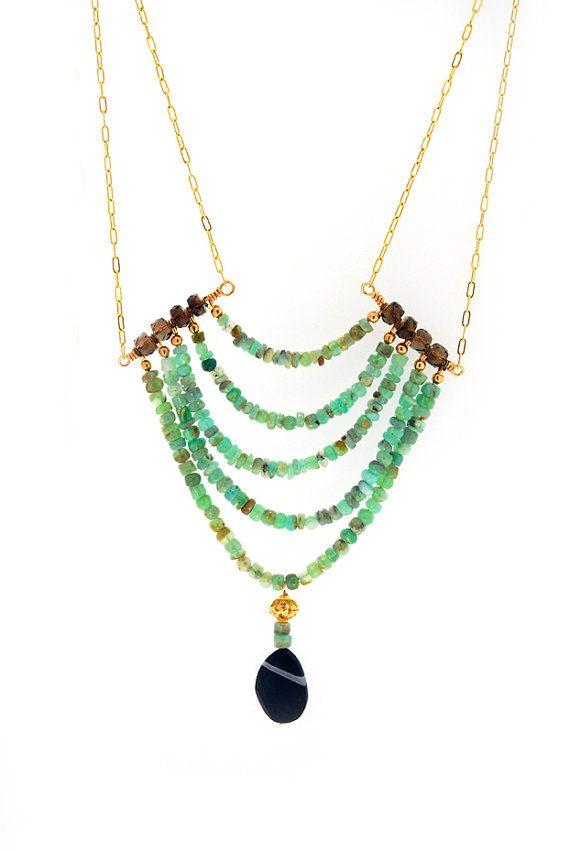 Peruvian Opal Beaded Necklace by HotRockJewelry