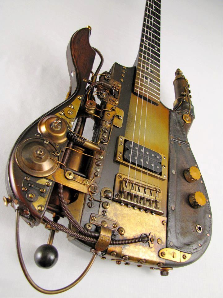 steampunkorama electric guitar - this is sooooo awesome, it would look fantastic on my dds bedroom wall! http://www.guitarandmusicinstitute.com