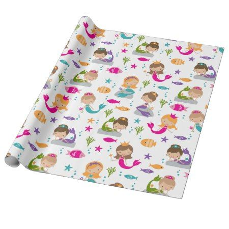 Cute Under the Sea Mermaid Wrapping Paper - tap, personalize, buy right now! #pattern #patterns #illustrations #illustration #giftwrap #giftwrapping #kids #children #babyshower #girls