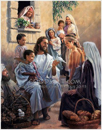 Jesus talks with the little children, while holding a dove ... Jesus Christ Lds Simon Dewey