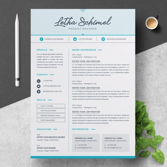 One Page Resume Cv Template With Cover Letter Disenos De Unas