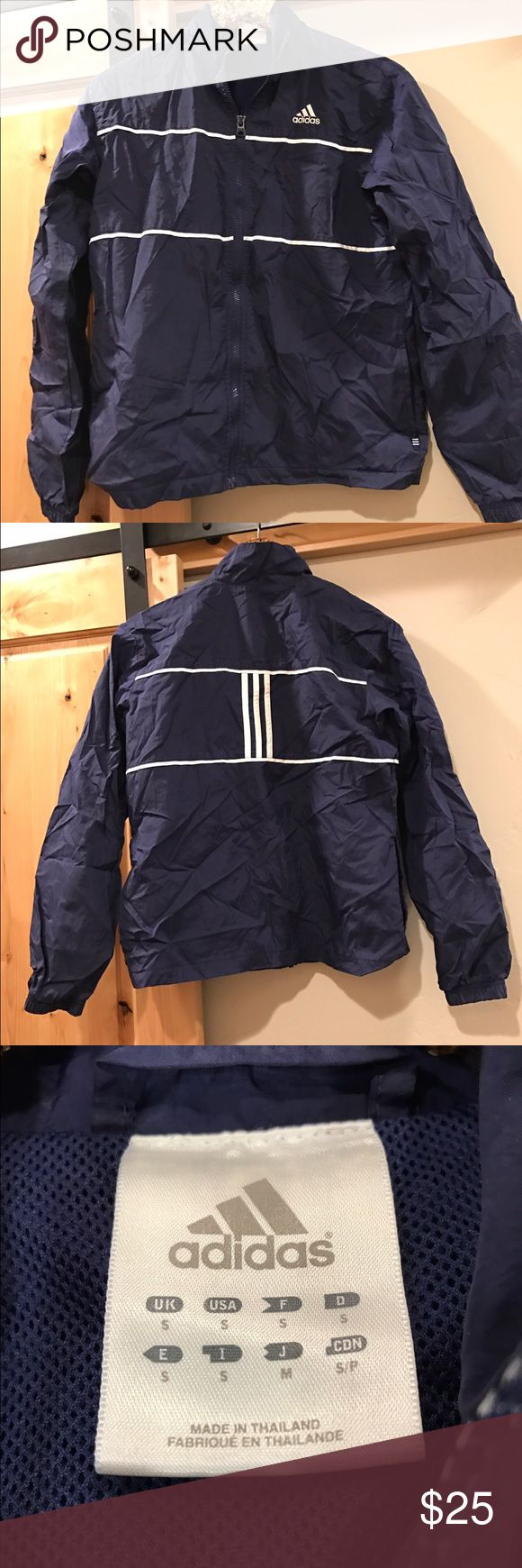 ADIDAS Zip Up Jogger Jacket. Great condition ADIDAS Navy Zip Up. Worn maybe once, great condition! Goes great with the ADIDAS jogger pants I also listed  Adidas Jackets & Coats Utility Jackets