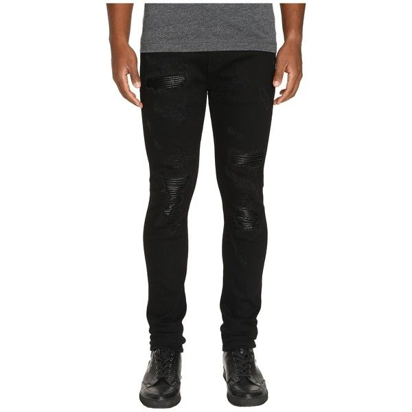 God's Masterful Children Amadeo Ripped Leather Jeans (Black) Men's... ($310) ❤ liked on Polyvore featuring men's fashion, men's clothing, men's jeans, mens leather skinny jeans, mens biker jeans, mens ripped jeans, mens leather jeans and mens skinny fit jeans