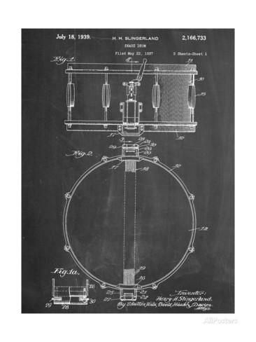 Snare Drum Instrument Patent Poster at AllPosters.com