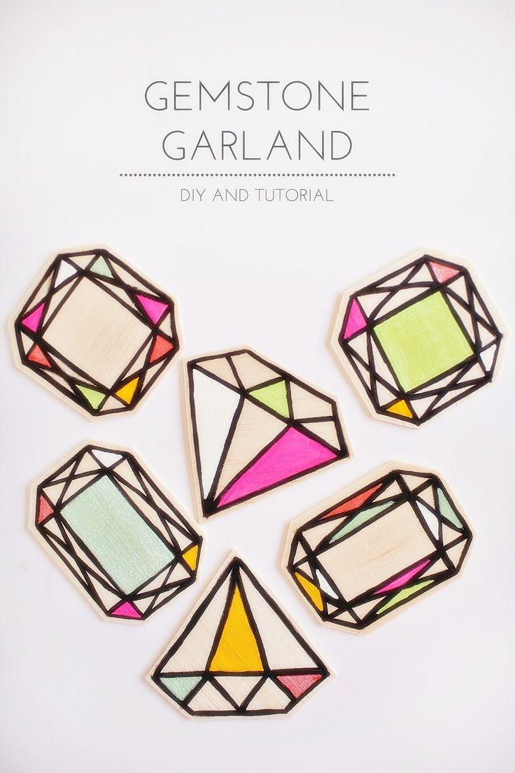 DIY: wood gemstone garland