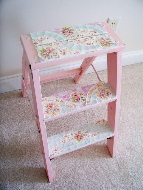 DIY::Shabby Chic Little Ladder Make Over. My old step ladder desperately needs a makeover!