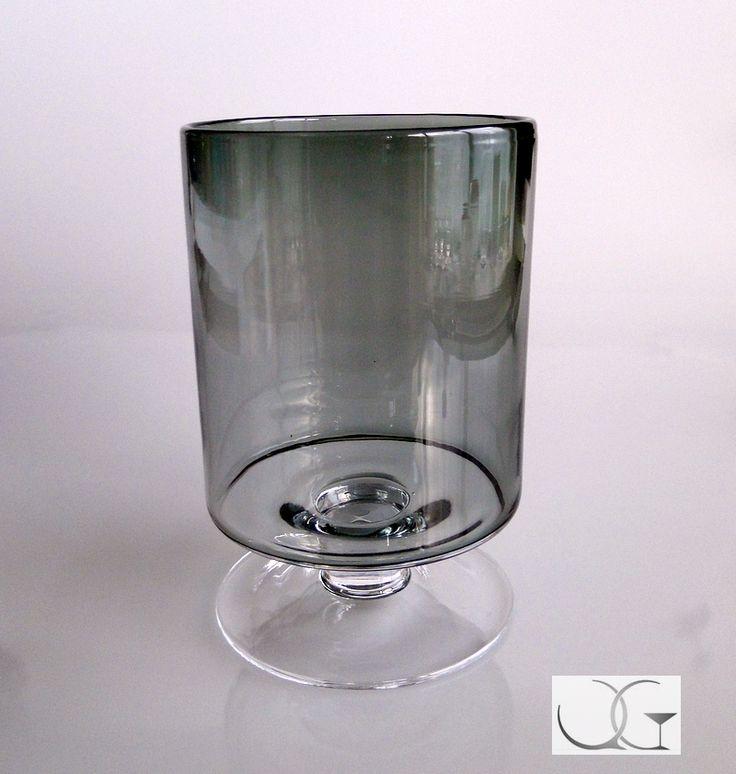 Świecznik szklany Popielaty walec h-23
