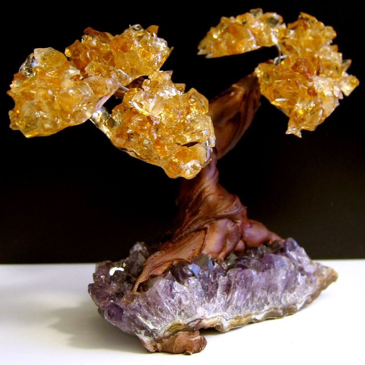 Twin Tree Branches helping each other in life's journey, on rich and dark Purple Uruguay Amethyst with Citrine Crystal Cluster! The trunk and roots are beautiful rich rose wood color. A hand crafted,