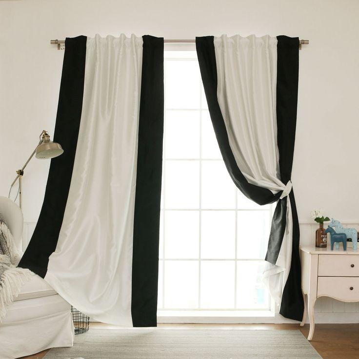 Aurora Home Vertical Colorblock Faux Silk Blackout Curtain Panel