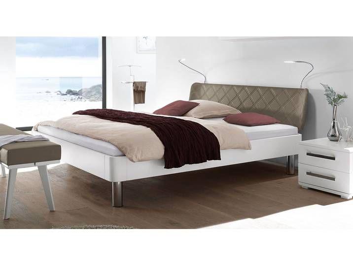 Weisses Bett 180x200 Cm Mit Gestepptem Kunstleder Kopfteil Peram