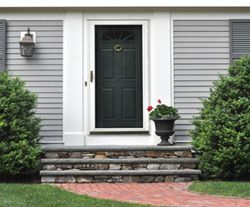 perfect front door with storm/screen and white shutters/panels on each side : door stoops - pezcame.com