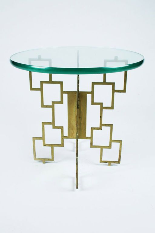Pair of Interlocking Pierced Brass X-Base Tables   From a unique collection of antique and modern gueridon at http://www.1stdibs.com/furniture/tables/gueridon/