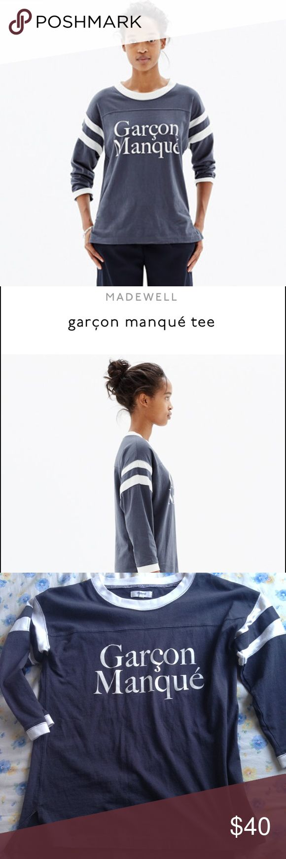 "Madewell Garçon Manqué Tee XS Sold out online. Originally $50. Barely noticeable stain on back. Size xs. Means ""Tomboy"" in French ❤️ Madewell Tops"