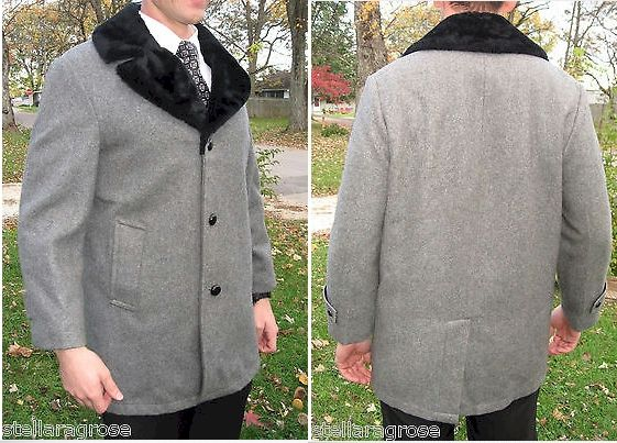 """VINTAGE 60's 70's Men's CAR COAT Gray w/ Black Faux Fur Large Lapels BORG Lining http://www.ebay.com/sch/m.html?_ssn=stellaragrose&_armrs=1&_from=R40&_sacat=0&_nkw=car+coat&_sop=1 Classy, Classic 80% WOOL, gray outer shell with a rich, black, faux fur pile, large lapel collar  """"TAILORED EXCLUSIVELY FOR""""  """"BACHRACHS"""""""
