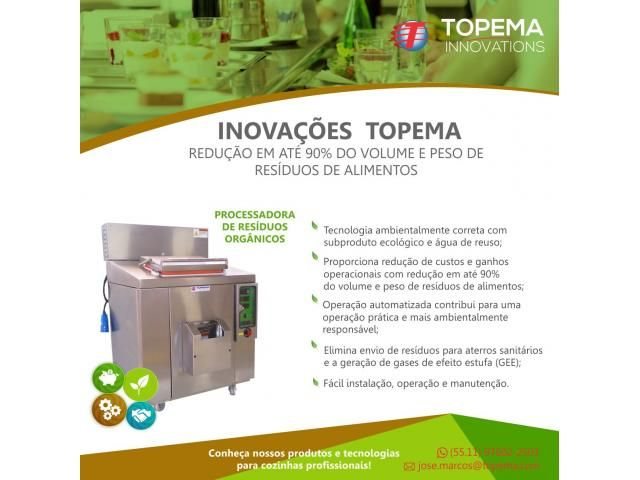 Reciclador inteligente Eco30 Topema, transforma resíduos orgânicos, sobras de refeições, descartes de preparo de alimentos, folhas, legumes, cascas de frutas, sementes e carnes em adubo e fertilizante para agricultura e água destilada para reuso; Utilizado para cozinhas profissionais em restaurantes, hotéis, condomínios, empresas de refeição coletivas, indústrias e hospitais; Reduz o volume do resíduo orgânico em a...