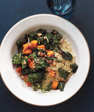 Quinoa With Sweet Potatoes, Kale, and Pesto
