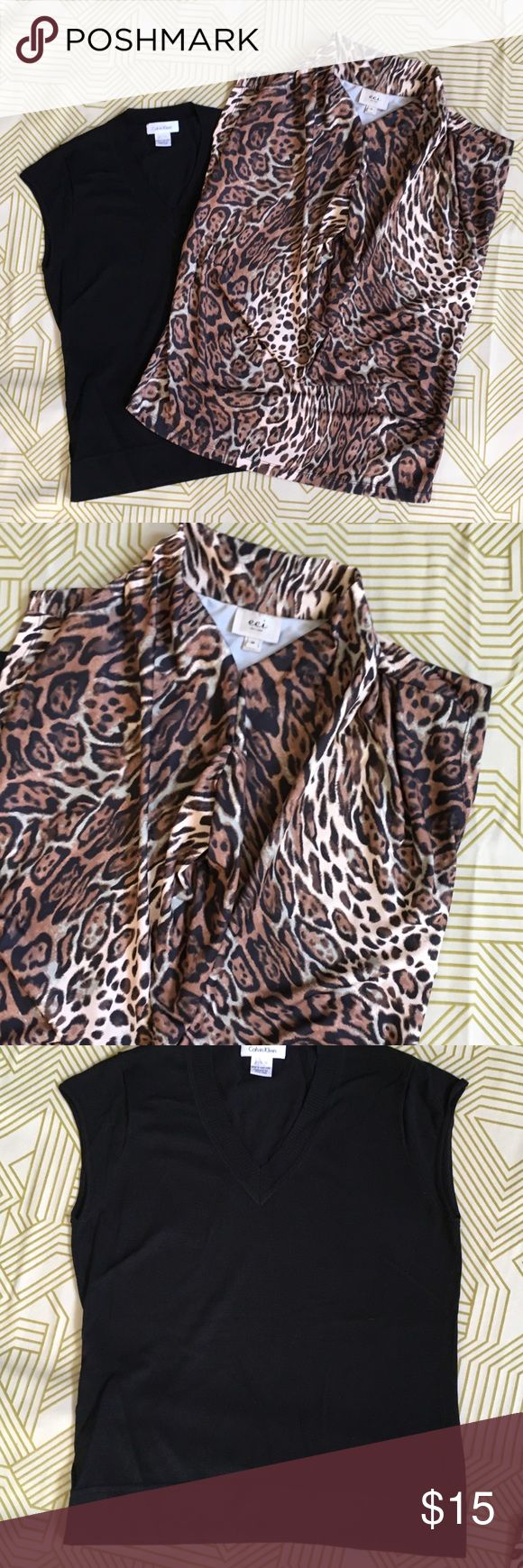 Bundle 2 Layering Tops Size Med Calvin Klein & eci Calvin Klein cap sleeve v neck is great under a jacket. Has a nice slimming fit. Size Medium. Eli sleeveless animal print tank with a great flouncy v neck. Great with a black pencil skirt. Or belted with a wide leather belt. Both worn maybe a couple of times. Calvin Klein Tops Tank Tops