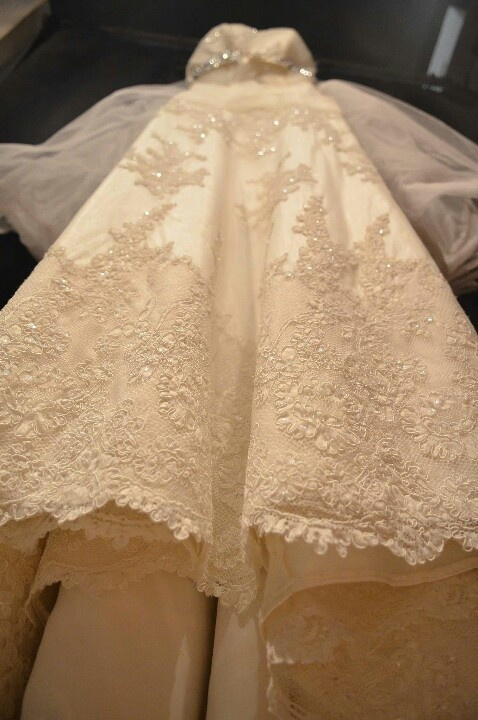 Further detaila of lace and beads on the skirt