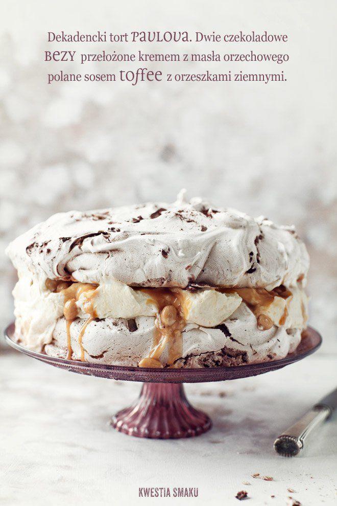 Chocolate pavlova with peanut butter cream
