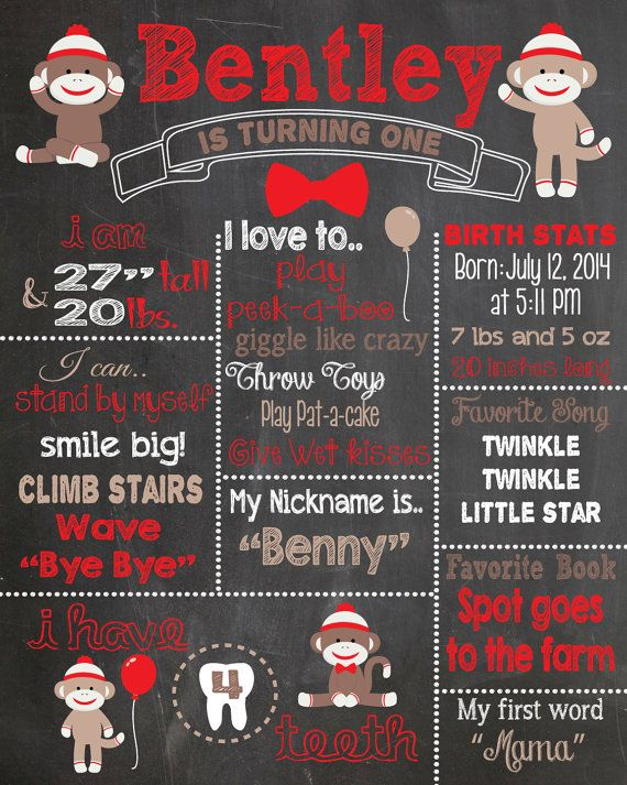 Sock Monkey First Birthday Chalkboard Printable Poster by RusticRosebudDesigns