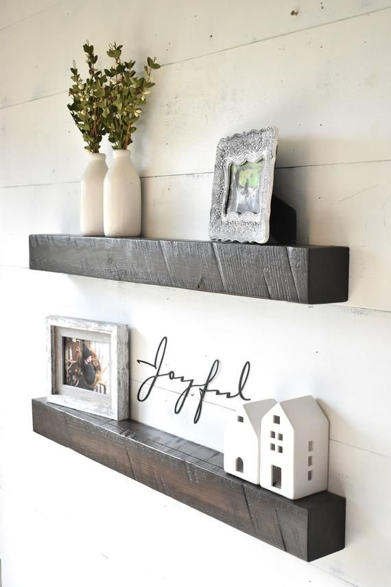 Farmhouse Style Ledge Shelving Each Unit Is Made From Solid Wood Beams That Have Been Sanded Smo Shelf Decor Living Room Floating Shelf Decor Wall Shelf Decor
