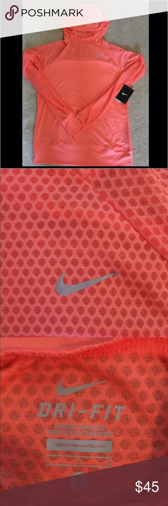 NWT Nike dri fit pullover NWT Nike women's dri fit pullover ! The arms and chest have mesh polka dots to allow for air to pass through which makes you cool down a lot quicker when you're working out or on a jog 😊 Nike Tops Sweatshirts & Hoodies