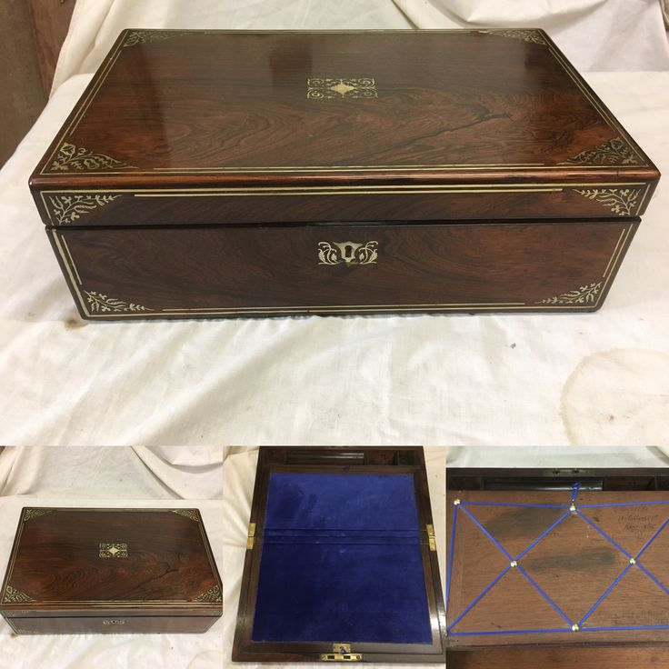 Regency rosewood with silver and mother of Perl writing box with blue velvet interior