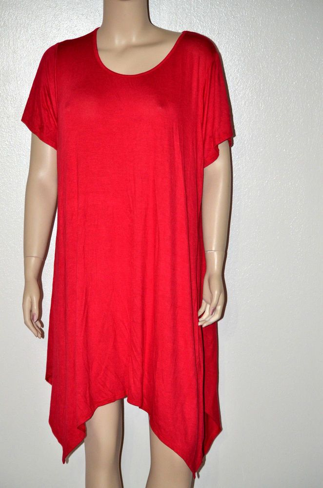 Sexy REd 3x Plus Longer tunic Top Stretchy uneven trendy hem Patriot Red Tunic #shopjaded #Tunic #Clubwear