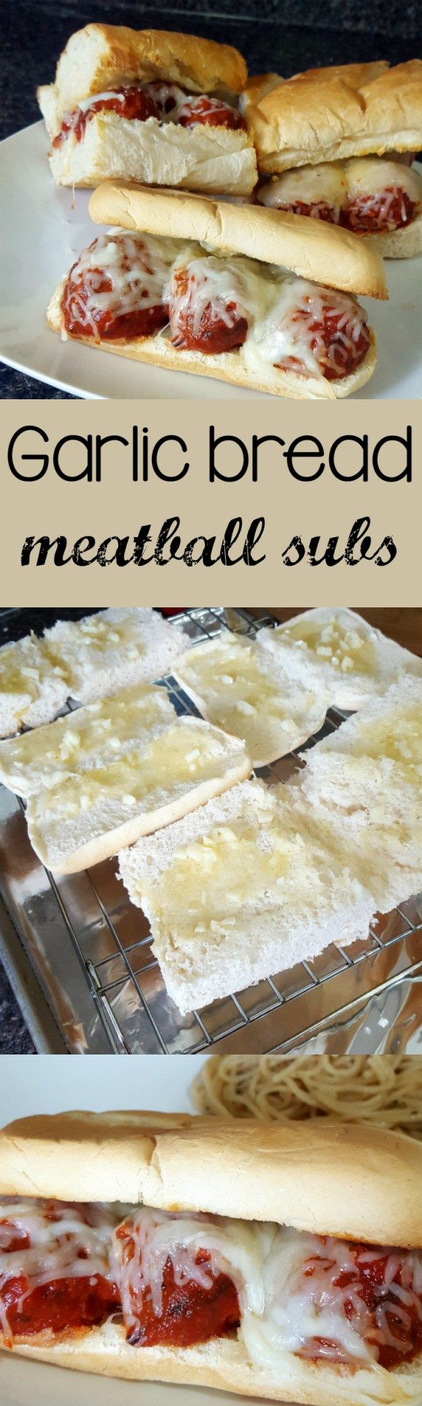 Garlic bread meatball subs - A delicious garlic bread smothered together with meatballs, and melted cheese. A new take on a classic sandwich.