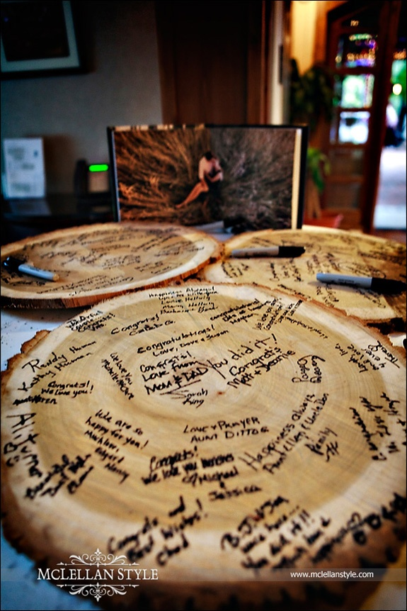 Guest Logs: when done, finish and turn into side tables for a rec room with a woodsy feel.  Place a centerpiece from the wedding on top.
