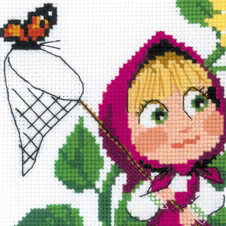 "KIT EMBROIDERY CROSS ""Masha and the bear"" Riolis counted cross stitch  #RIOLIS #CROSSSTITCH"