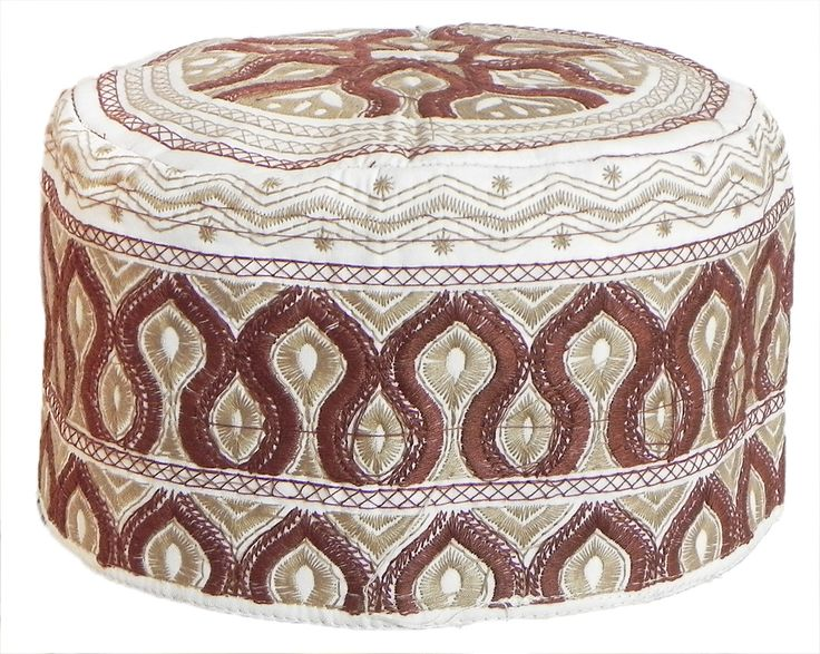 White Muslim Prayer Cap with Brown Embroidery