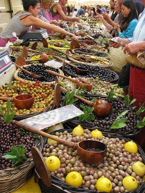 Marché aux olives  – marketplace for olives at St. Rémy de Provence, France. L…