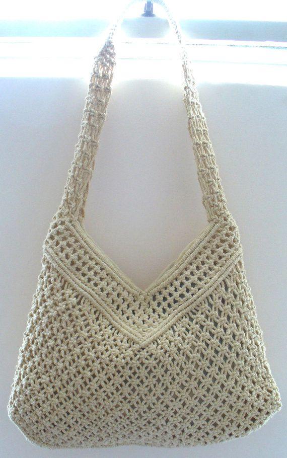 Vintage Macrame Festival Shoulder  Bag With Wood Beads