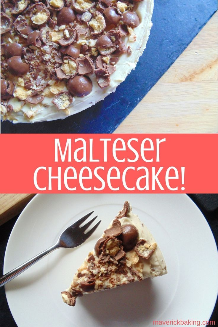 Malteser Cheescake! A smooth and creamy no bake cheesecake with malted milk powder and crushed Maltesers! (May be called Whoppers if you're in the US!)