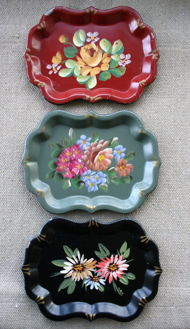 These are on my wall. Love them !Lovely Vintage Floral Hand-Painted Tole Trays--Cottage Chic. $18.00, via Etsy.