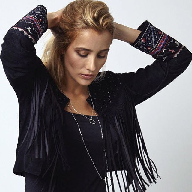 One more from the look book! Gorgeous @danitrece wearing Lilly tassel suede jacket with Hathor Heart embroidery ❤️ @lealov_london #InLeatherWeCraft #LeaLov #Leatherlovers #leatherjackets #embroidery #crossstitch #craft #fringe #studs #ss16 #newdesigners2015