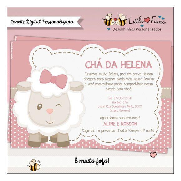 Convite Chá de Bebê Ovelha Digital