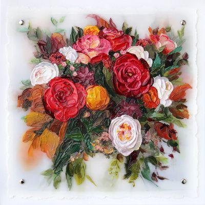 Chrissy's Bouquet - wedding bouquet painting by Terri Heinrichs @bouquetpainter.