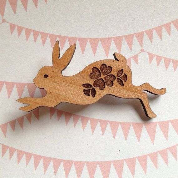 Run, Rabbit, Run - Sweet Laser cut Bunny with Flower design wooden brooch on Etsy, $15.00